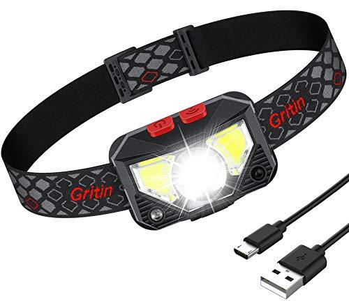 Lampada Frontale LED, Gritin Lampada da Testa LED Ricaricabile USB con 8 Modalità di Illuminazione, Con Interruttore a Sensore 500lm IPX4 Torcia Frontale, Per Campeggio, Corsa, Pesca, Ciclismo
