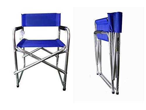 Hyfive - Sedia pieghevole in alluminio blu con bracciolo, sedia da campeggio, sedia da pesca, sedia da giardino