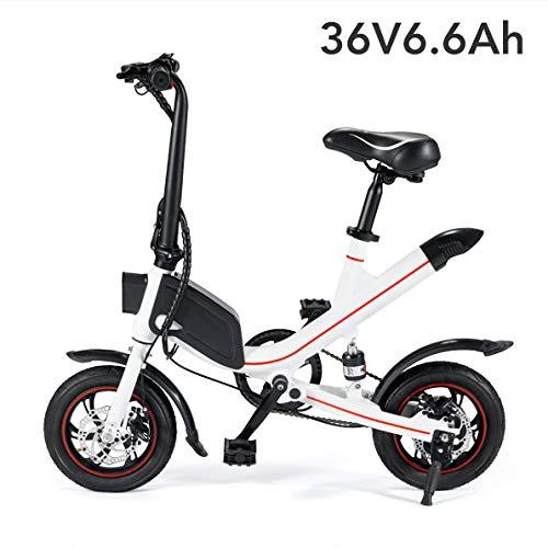 YPYJ Pieghevole Batteria al Litio Bicicletta Elettrica Ciclomotore Mini Uomini Batteria per Auto E Donne Adulti Piccola Auto Elettrica,Bianca,36v6.6Ah