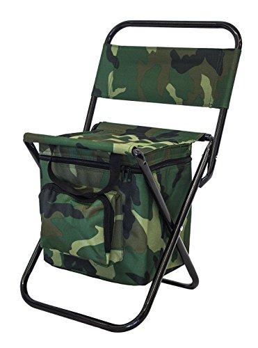 SEDIA pieghevole fantasia mimetica con borsa termica integrata | Sgabello verde militare per pesca, escursioni, spiaggia, campeggio, picnic con borsa frigo | Dimensioni: 27*35*58cm con manici