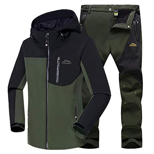 WANPUL - Completo da uomo in tessuto tecnico, giacca e pantaloni in softshell per attività all'aperto come trekking ed escursionismo Verde militare + verde militare. XL