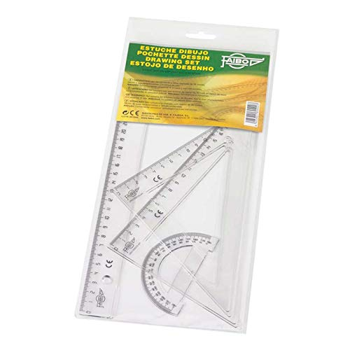 Faibo 804 Set per Geometria con Righello, Squadra e Goniometro, 25 cm
