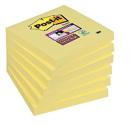 Post-it Super Sticky Foglietti 7000144681, 6 Blocchetti Memo Adesivi, 76 mm x 76 mm