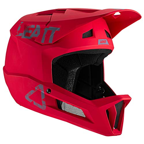 Leatt Casco MTB 1.0 DH Junior Bicicletta Ragazzi Unisex, rosso peperoncino, XS