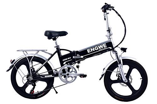 """BIKFUN Bicicletta Elettrica Pieghevole, Bici al Lavoro, E-Bike,Fold 20""""/26"""", Adulto, 250W Batteria 36V 8Ah, Cambio Shimano a 7 velocità (20' Silverlight B)"""