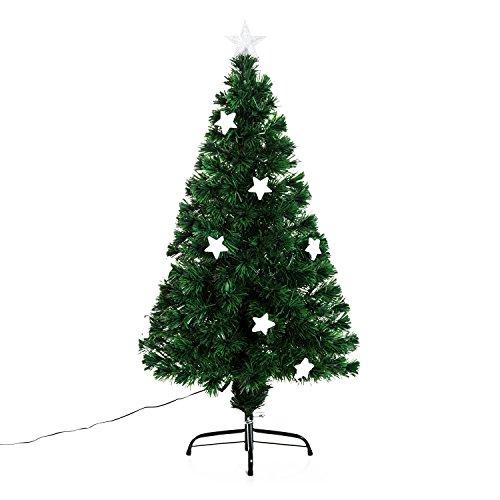 homcom Outsunny Albero di Natale Artificiale in Fibra Ottica con 16 luci LED a Forma di Stella Altezza 120 cm foltissimo