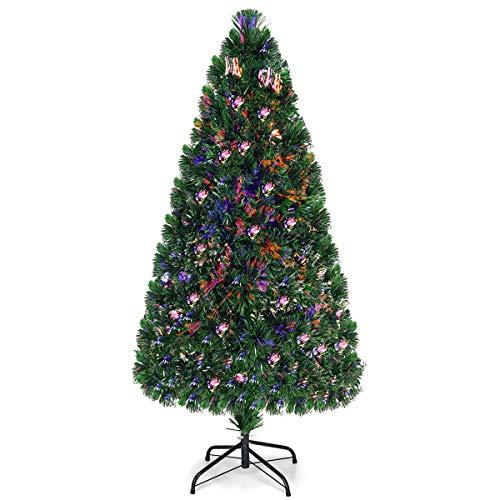 COSTWAY Albero di Natale Illuminato Abete Artificiale, con Fibra Ottica, Cambia Colore, Verde, 90-180cm (150cm)