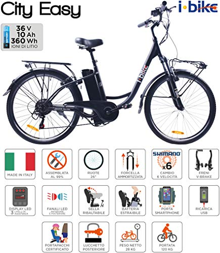 i-Bike City Easy Bicicletta Elettrica Unisex – Adulto, Nero, 180 x 90 x 32 cm