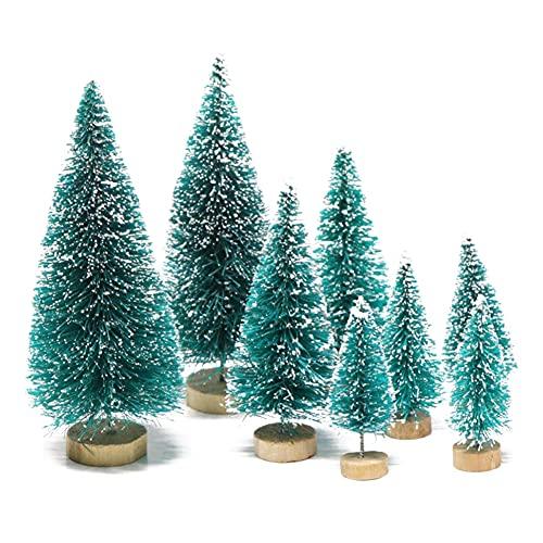 8 mini alberi di Natale artificiali, alberi di pino in miniatura con base in legno, albero di Natale da tavolo per Natale, Natale, Capodanno, 8 pezzi