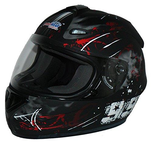 Protectwear Casco moto nero rosso disegno 99 FS-801-99R, Taglia M