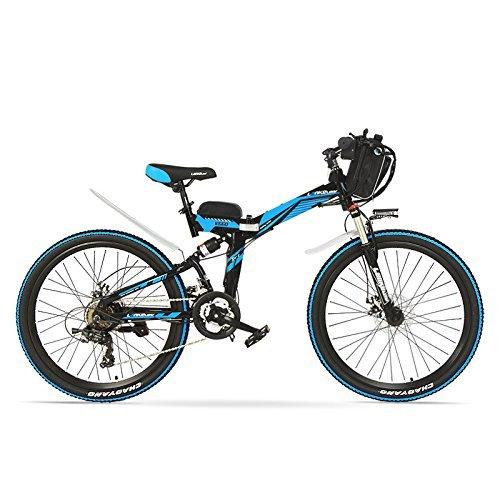 K660 26 pollici bici elettrica, 48V 12AH 240W, telaio in acciaio ad alto tenore di carbonio con sospensione completa, ebike pieghevole, freno a disco. (Nero blu, 240W + 1 Batteria a raggiera)