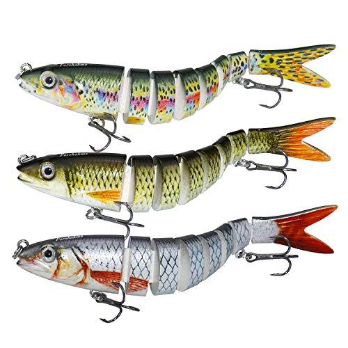 larruping Esche ArtificialiEsca di Simulazione Esca Finta Esche da Pesca Esca di Pesce a più Sezioni Dura con Ganci Bass Fishing Tackle Pesca in plastica Minow Fishing (3 Pezzi)