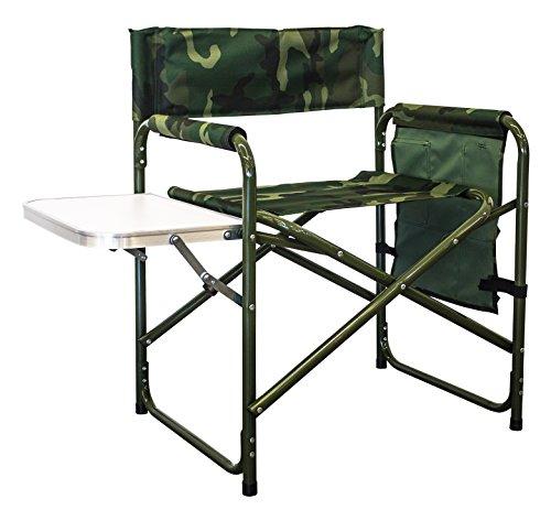 XONE Poltrona Regista Camouflage da Campeggio Pieghevole | Sedia Militare da Pesca Richiudibile con Manici | Poltrona Mimetica con tavolino e Sacca portaoggetti | Dimensioni: : 45 * 56 * 78cm