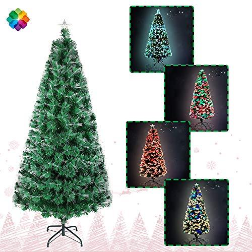 UISEBRT Albero di Natale Artificiale Illuminato 210cm - Albero di Natale con Fibra Ottica a LED Che Cambia Colore (210cm, Fibra Ottica Colorata)