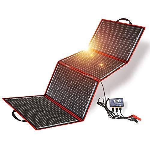 Dokio 200W Pannello Solare Portatile (5,3 Kg,73*54*1,2cm),Mobile e Pieghevole+1 Regolatore 20A Serie con Presa Usb 5V 2A