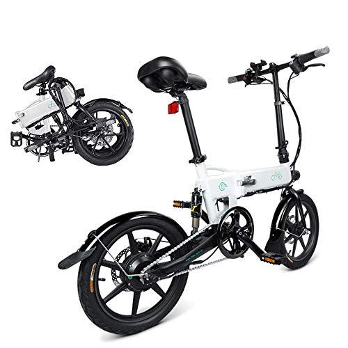 Bici Elettrica Pieghevole, Fiido D2 Ebike 7.8 Ah Batteria agli ioni di Litio 250 W, Tre modalità di Lavoro, 16 Pollici, con Luce LED Anteriore, per Adulti (D2-Bianco)