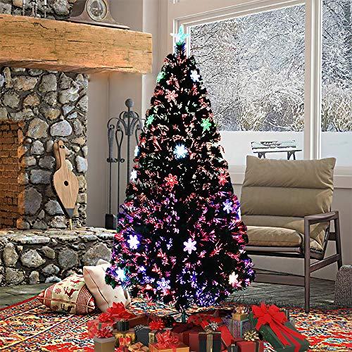 Asina Albero di Natale Artificiale Decorazione di Natale in PVC 240cm con 300 Punti e 7 Diversi Luci Multicolori LED Fiocchi di Neve Fibra Ottica Albero Illuminato incl. Supporto
