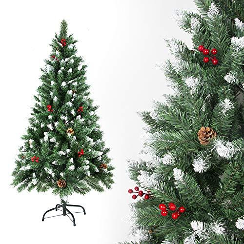 SunJas - Albero di Natale Artificiale con pigne, 120/150/180/210 cm, Punte Appuntite e Abete Artificiale con Supporto in Metallo, Albero di Natale di Alta qualità, pigne (150CM)