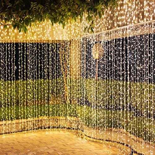 600 LED Tenda Luminosa 2 in 1 Colore IDESION 6M x 3M Tenda di Luci 9 Modalità con Telecomando Impermeabile LED Luci Natali per Interno or Esterno Catene Luminose Decorative (Bianco Caldo & Freddo)