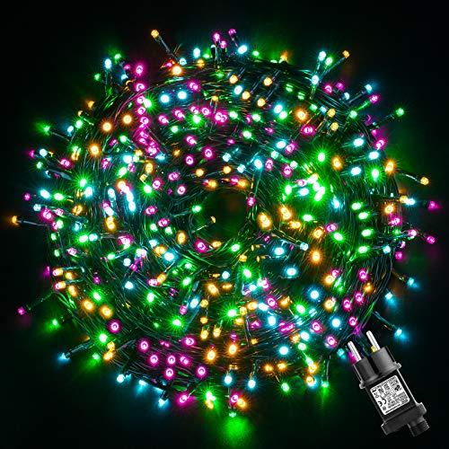CatenaLuminosaEsterno,GlobaLink LuciNataleEsterno 50M 500LEDs,StringaLuciLed Impermeabili,8 Modalità Luce,Funzione Memoria per Uso Interno Esterno Natale Matrimonio Casa Giardino Feste-4 Colori